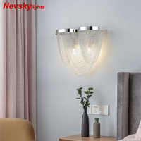 Modern wall lamp living room sconce with silver fringe bedroom silver wall light kitchen metal lamp hallway loft lighting dining