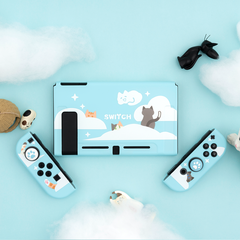 Geekshare Nintendo Switch Nebula Cat Cartoon Cute Clouds Fairy League TPU Soft Cover Back Girp Shell For Nintendo Switch