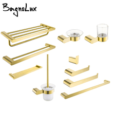Towel-Hooks Paper-Holder Bathroom-Accessories-Set Brushed Gold Stainless-Steel Toilet