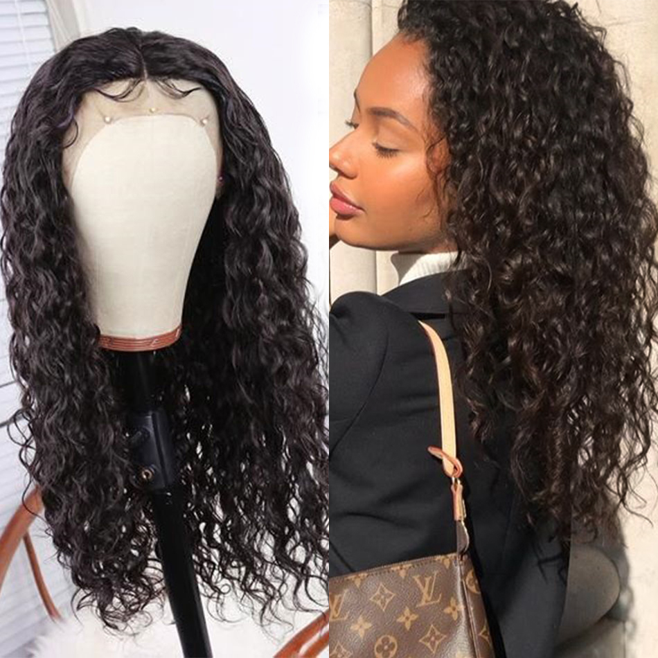 13x4 Lace Front Wig Brazilian Hair Remy Water Wave Real Human Hair Toppers For Black Women Extensions My First Wig Near Me 150%
