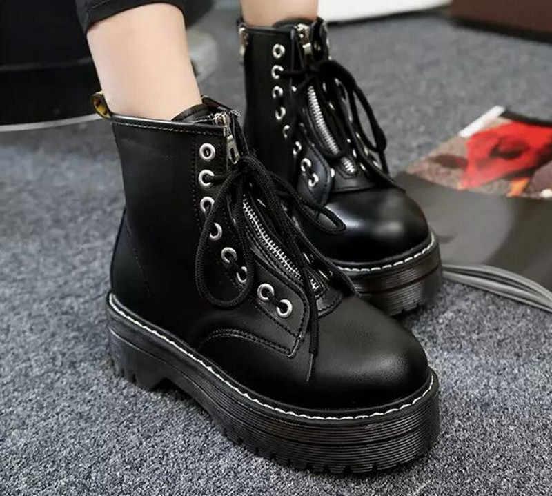 גבוהה פלטפורמת נשים עור מגפי עור מפוצל מגפי חורף נשים נעלי אופנה נשים נעליים