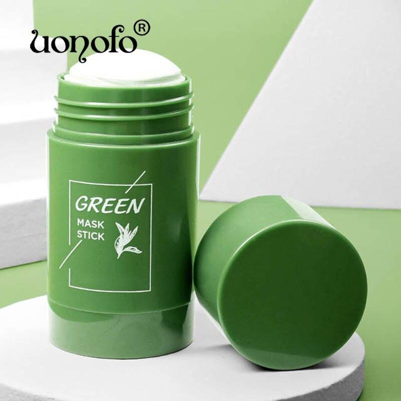 Palillo para arcilla purificadora de té verde, Control de aceite, antiacné, berenjena, mascarilla de limpieza fina sólida, productos para el cuidado de la piel