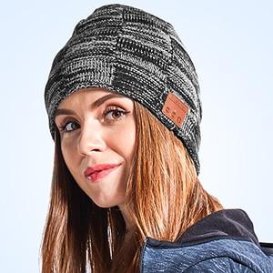 Image 4 - Moda música malha fone de ouvido chapéu chamada música escuta torção cheque mais veludo inverno quente fone de ouvido chapéu