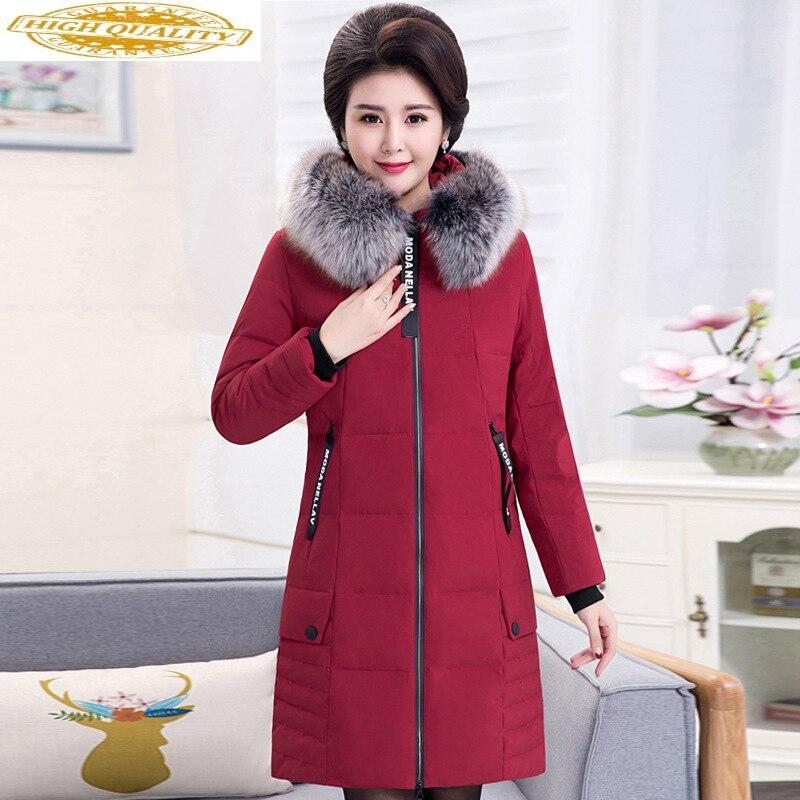 Winter Coat Women Long Duck Down Jacket Woman Hooded Plus Size Big Fur Collar Warm Parka Chaqueta Mujer 2020 KJ2588