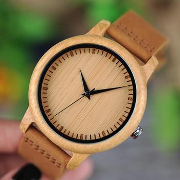 мужские часы BOBO BIRD Bamboo Watch Men Luxury Genuine Leather Strap Men's Wristwatches Best Christmas Gifts Dropshipping
