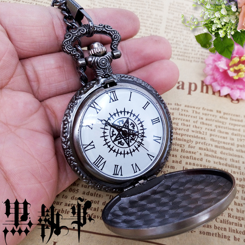 Black Butler Ciel Phantomhive Sebastian Michaelis Cosplay Accessory Retro Necklace Pocket Watch Fashion Quartz Watch Kid Gift