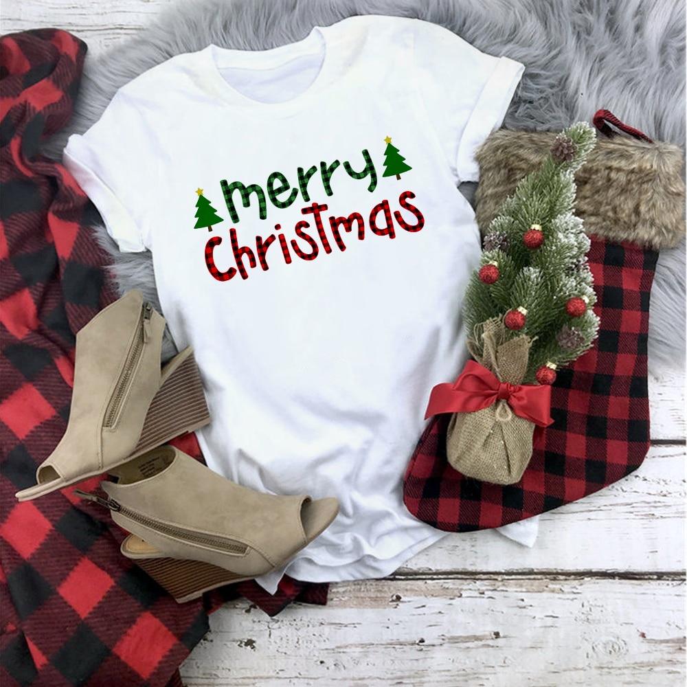 Plaid Merry Christmas T Shirt Women Fashion Graphic Cute Tee Kawaii TShirt Fashion Hipster Christmas Party Style T-Shirt