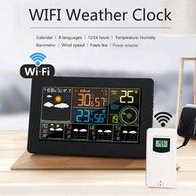 Wi-fi estação meteorológica controle app inteligente monitor de tempo ao ar livre indoor temperatura umidade barométrica velocidade do vento funções