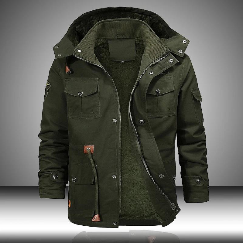Military Bomber Cargo Jacket Men Multi Pocket 2020 Winter Warm Hooded Coats  Fleece Thick Men's Jackets Tactical Coat Male 5XL|Jackets| - AliExpress