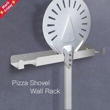 Pizza Shovel Wall Rack Brushed Stainless Steel Pizza Peel Rack Wall Mounted Hanger Heavy Duty Pizza Shovel Holder