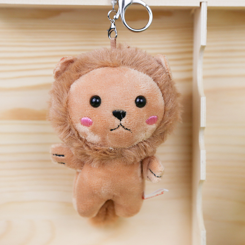 10cm Cute Brown Plush Hedgehog Keychain Anime Bag Mobile Phone Pendant Key Ring