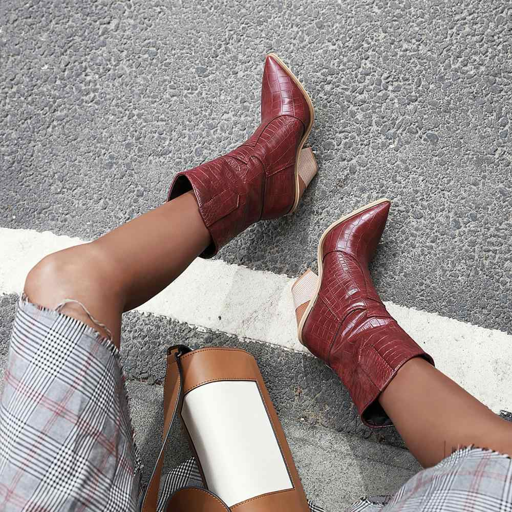 Plus size 34-48 New 2020 Women Boots faux leather hoof high heels autumn winter ankle boots female cowgirl ladies western boots