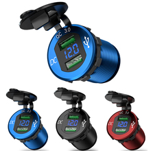 Quick Charge 3.0 Dual Usb Lader Waterdicht Socket Aluminium Power Outlet Snelle Lading Met Led Voltmeter Voor 12V 24V Auto Boot M