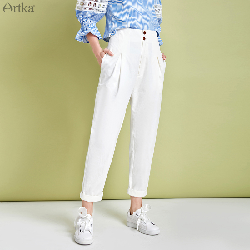 ARTKA 2020 Spring New Women Pants 100% Cotton Fashion High Waist Pure Simple Pants Straight Loose Casual Trousers Women KA25002C