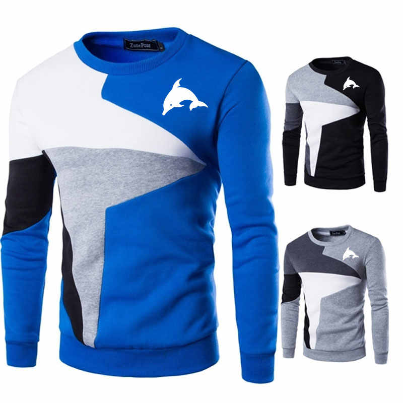 귀여운 돌고래 3d 동물 인쇄 스웨터 남자 새 캐주얼 o-목 슬림 코튼 니트 남성 스웨터 pullovers 남자 브랜드 의류