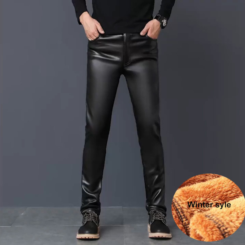 Winter PU Faux Leather Pants Men Skinny Windbreak Waterproof Motorcycle High Elastic Tight PU Leather Trousers Plus Size