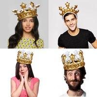 Gorro inflable de moda novedosa para niños y adultos, corona dorada, gorros de cumpleaños, decoración de fiesta de rey de juguete, novedad de 2021