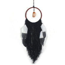 Dream Catcher Black Feather Pendant nursery Wind Chimes Home Decor Wall Art nordic Dreamcatcher(China)