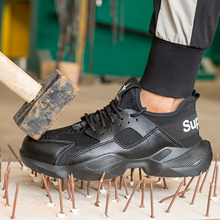 Мужские защитные сапоги со стальным носком; кепка; Рабочая обувь; кроссовки на щиколотке; защита подошвы