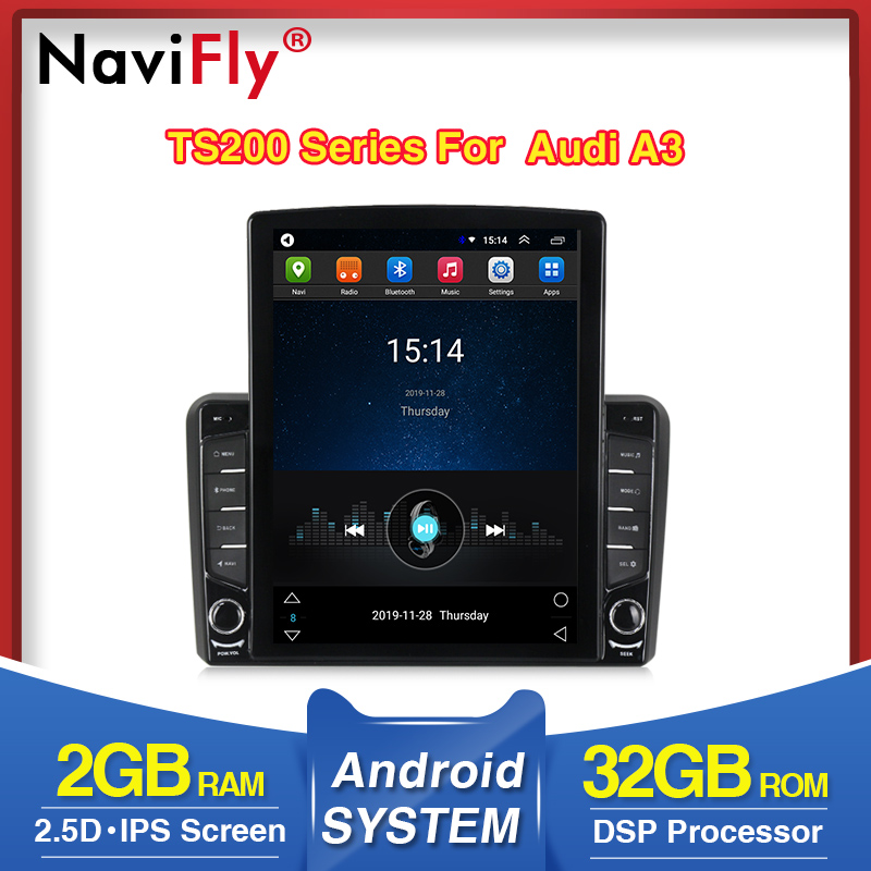 NaviFly Vertical Tesla Screen For Audi A3 8P 2003-2012 S3 2006-2012 RS3 Sportback 2011 Car Multimedia Player DSP IPS Screen