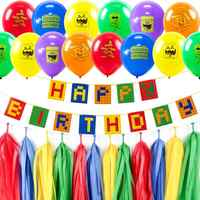 Colorful Theme Party Set Latex Balloons Happy Birthday Banner Building Block Kids Brick and Block Decorations Baby Shower