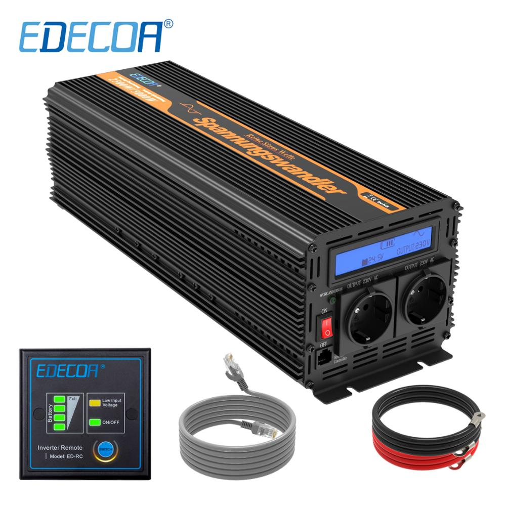EDECOA 2500W 5000W power <font><b>inverter</b></font> DC <font><b>24V</b></font> AC <font><b>220V</b></font> 230V 240V <font><b>pure</b></font> <font><b>sine</b></font> <font><b>wave</b></font> with remote controller LCD display image
