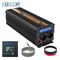 EDECOA 2500W 5000W power inverter DC 24V AC 220V 230V 240V pure sine wave with remote controller LCD display