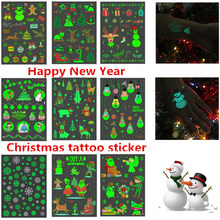 1Pcs Happy New Year 2020 Merry Christmas Decorations Luminous Temporary Tattoo Sticker Gifts for Kids Navidad Natal