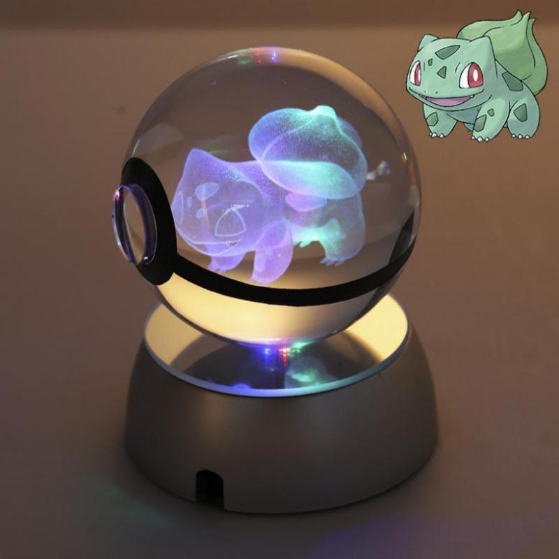 Pokemon Crystal Transparent  3d Lamp Diameter 5cm Button Cell Glass Ball Fancy Night Lights Pokemon Toy For Decorative Gifts