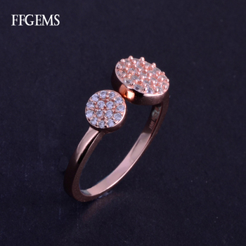 FFGems Elegant Real 10K Rose Gold Ring Sterling Diamond 0.13ct 417Au Fine Jewelry For Women Lady Engagement Wedding Party Gift image