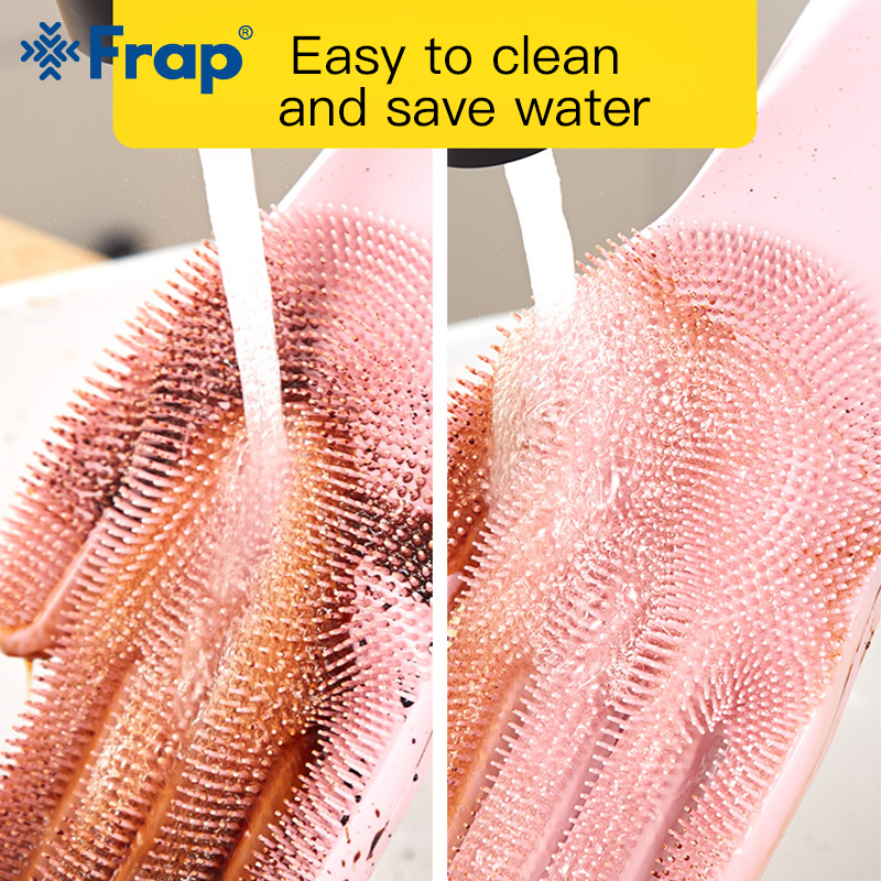 Image 5 - 1Pair Kitchen Gloves Silicone Household Cleaning Gloves Magic Silicone Dish Washing Glove for Kitchen High Quality Cleaning Tool-in Household Gloves from Home & Garden
