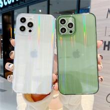 Mode Laser Aurora Kartonnen Telefoon Gevallen Voor Iphone 12 Mini 11 Pro Xs Max Xr X 8 7 Plus Se 2020 12Pro Luxe Soft Tpu Cover