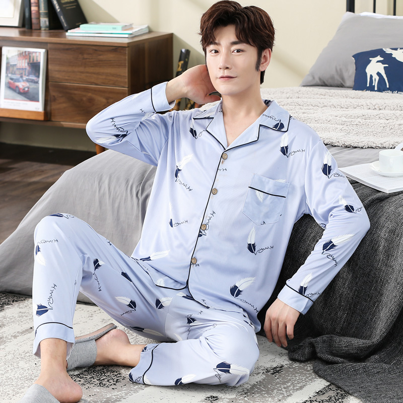 Men's Pajamas Spring And Autumn Winter Cardigan Plaid Large Size Long Sleeve Pure Cotton Home Clothes Men's Suit