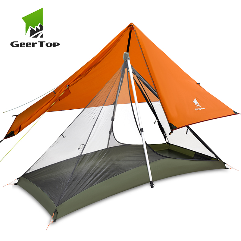 GeerTop Ultralight Camping Tent 1 Person 3 Season Portable  Compact Backpacking No Trekking Poles Tents Outdoor Hiking Road  TripTents