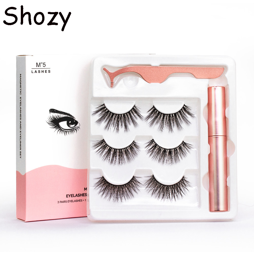 <font><b>Shozy</b></font> waterproof <font><b>magnetic</b></font> eyeliner & 3 pairs mixed <font><b>magnetic</b></font> <font><b>eyelashes</b></font> with 5 magnets false <font><b>eyelashes</b></font> extension and applicator-M image