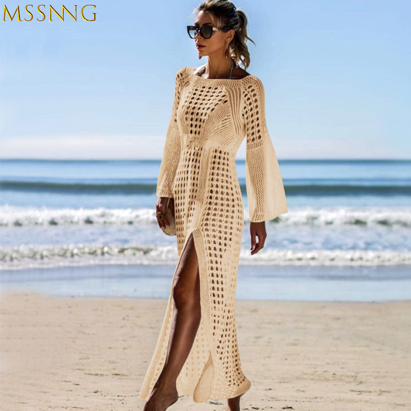 2019 Sexy White Crochet Knitted Bikini Covers-Up Beach Coat Swimsuit Cover-Ups Lace Beachwear Bikini Cover-up Long Beach Dress