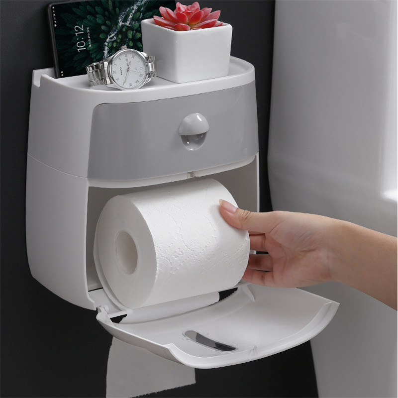 Waterproof Wall Mount Tissue Box Toilet Paper Holder Shelf Toilet Paper Tray Roll Paper Tube Storage Box Creative Tray