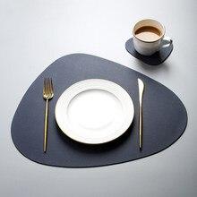 Leder Tisch Matten Ort Matte Geschirr Pad Tischset Tischset Wärmedämmung PU Tischsets Schüssel Coaster Küche Nicht-Slip