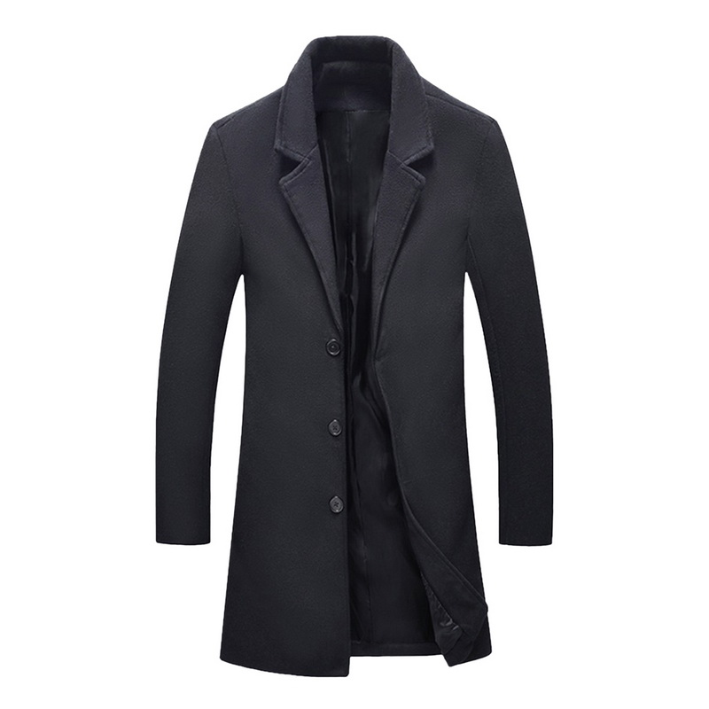 High Quality Winter Woolen Jackets For Men Blends Casual Slim Outwear Black Wool Coat Men Casaco Masculino Long Trench Coat