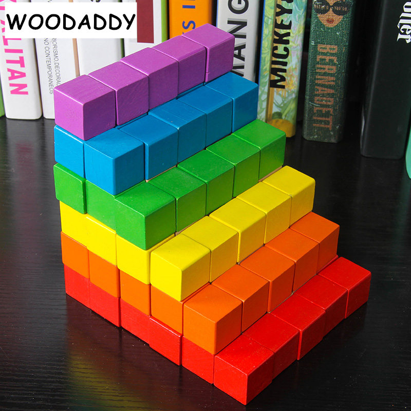 Dropshipping 100Pcs 2*2*2cm Square Building Blocks Wooden Toys For Kids Rainbow Blocks Preschool Teaching Aids Educational Gift