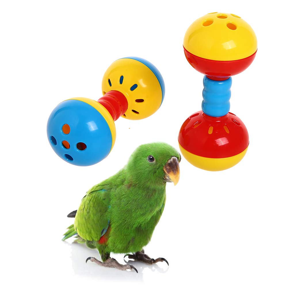 Parakeets Conures Toys Bird Rattles Bells Foot Toys Enrichment Barbell Ball Toys Play Gym Cage Accessories for Medium Parrots 6
