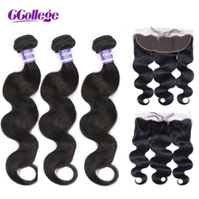 Ccollege Hair 13x4 Lace Frontal with Bundles Brazilian Human Hair Body Wave Bundles with Lace Frontal NonRemy Hair Extension ccollege естественный цвет 8 10 12