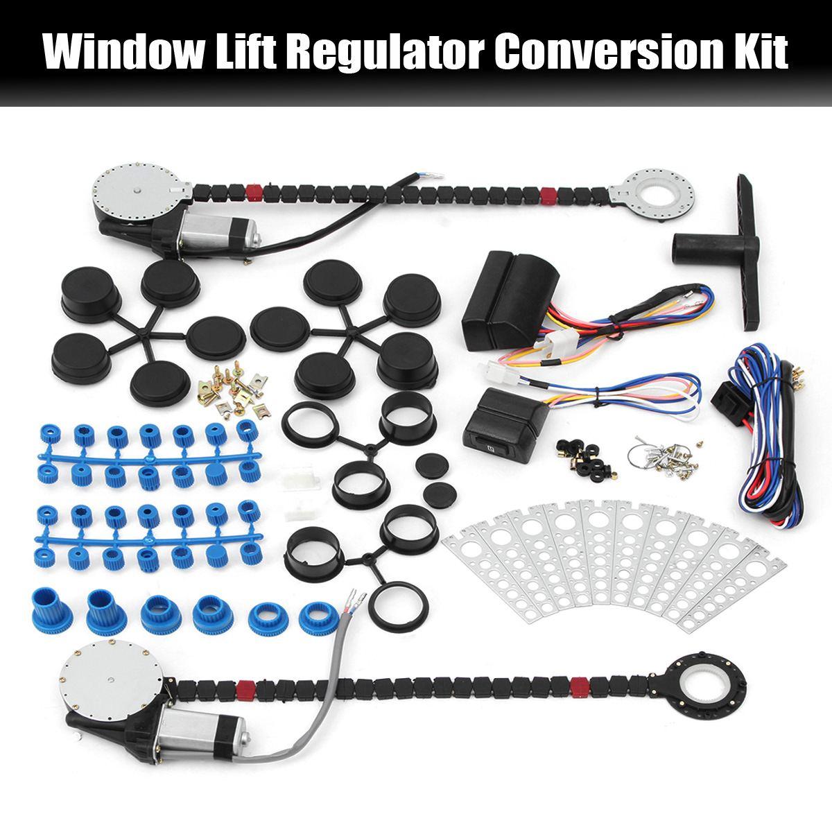 Universal carro elétrico janela de energia elevador regulador kit conversão para 2 porta caminhão do carro suv janela levantador kit reparo