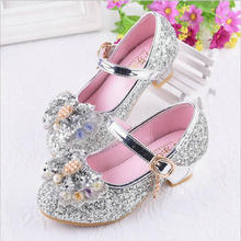 Children Sandals Girls Wedding Shoes New Spring Summer High Heels Dress Shoes Silver Pink Red Sweet Sandals Kids Party Shoes