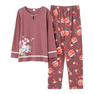 Image 4 - Outono inverno mulher pijamas casa roupas plus size pijamas conjunto de manga longa pijamas para mulher conjuntos 100% algodão