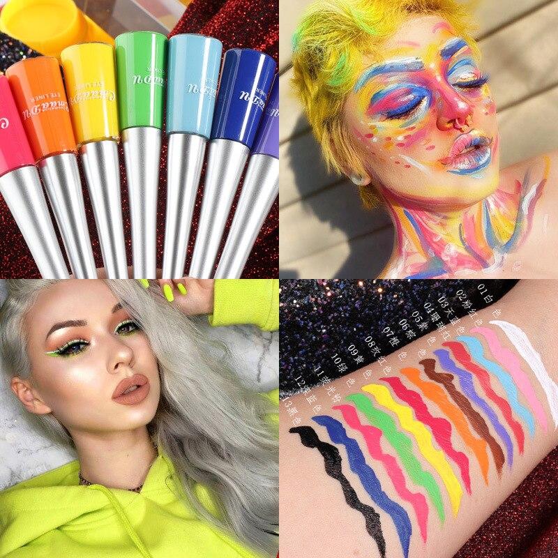 12-color Matte Cat Eye Makeup Waterproof Neon Colorful Liquid Eyeliner Pen Make Up Comestics Long-lasting Liner Pencil Makeup