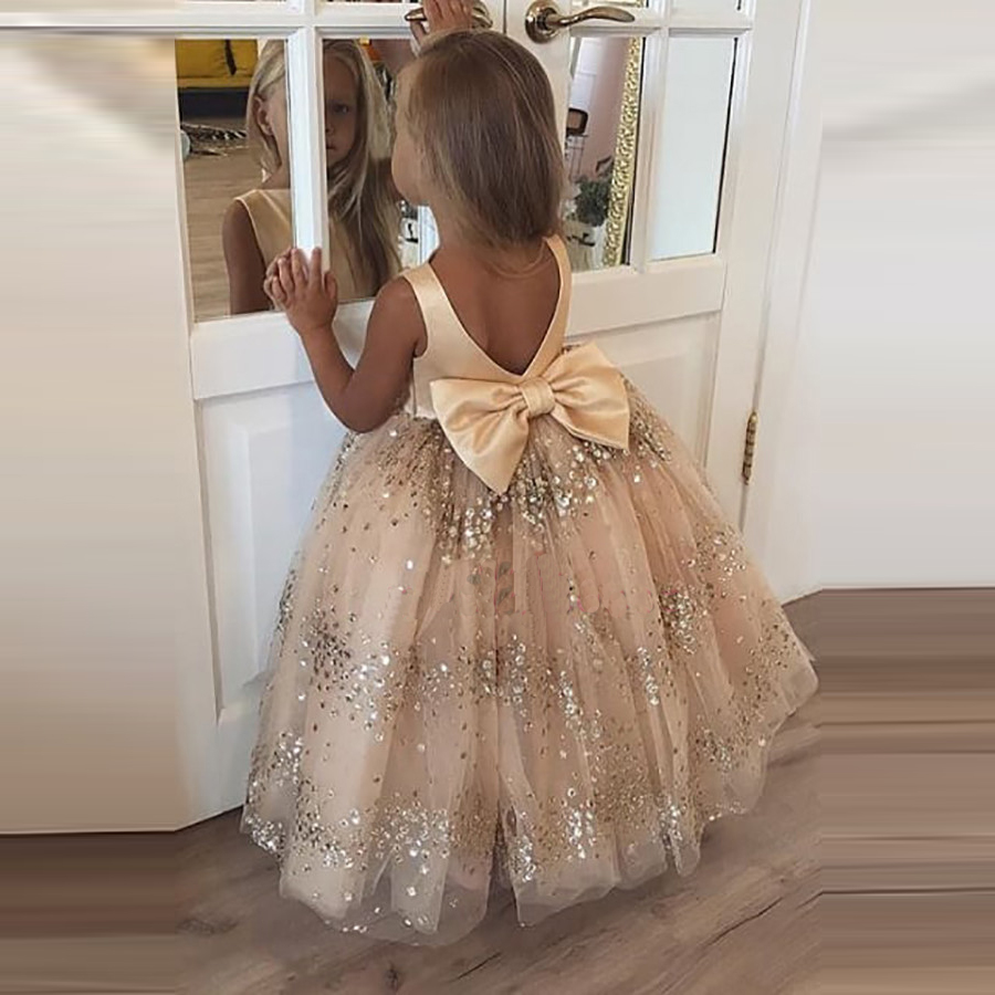 Lovely Flower Girl Dresses 2020 Scoop A Line Sequined Big Bow Little Pageant Girls First Communion Gowns
