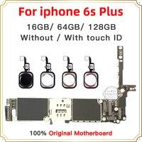 Iphone 6s plus 마더 보드 용 16 gb/64 gb/128 gb  터치 id가없는 iphone 6s plus 메인 보드 용 잠금 해제/터치 id 포함