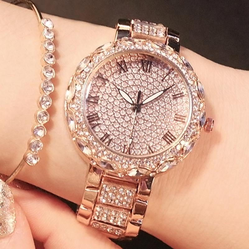 New Full Diamond Crystal Women's Watches Luxury Women Rhinestone Watches Women Rose Gold Ladies 2019 Watches Female Quartz Watch