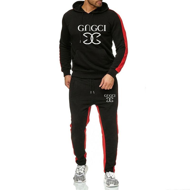 Tracksuit Set Men Sportswear Suit 2020 Autumn Winter Hooded Pullover Sweatshirt Gyms Outfit Hoodies Sweatpants Male 2 Piece Set
